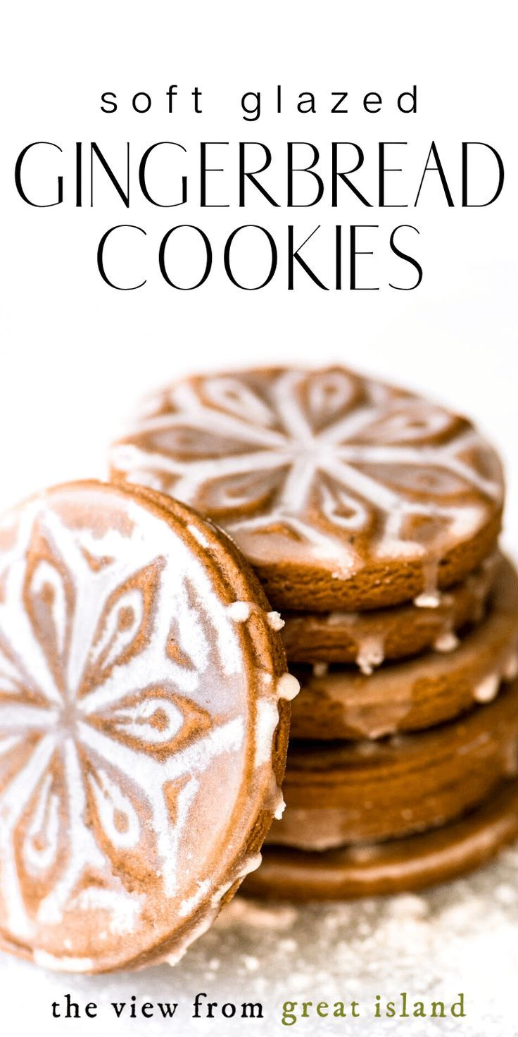 SOFT Glazed Gingerbread Cookies! #gingerbreadcookies