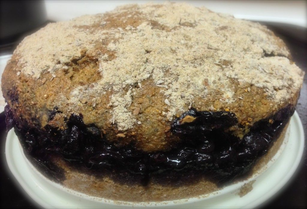 A diabetic coffee cake filled with a delicious blueberry mixture.