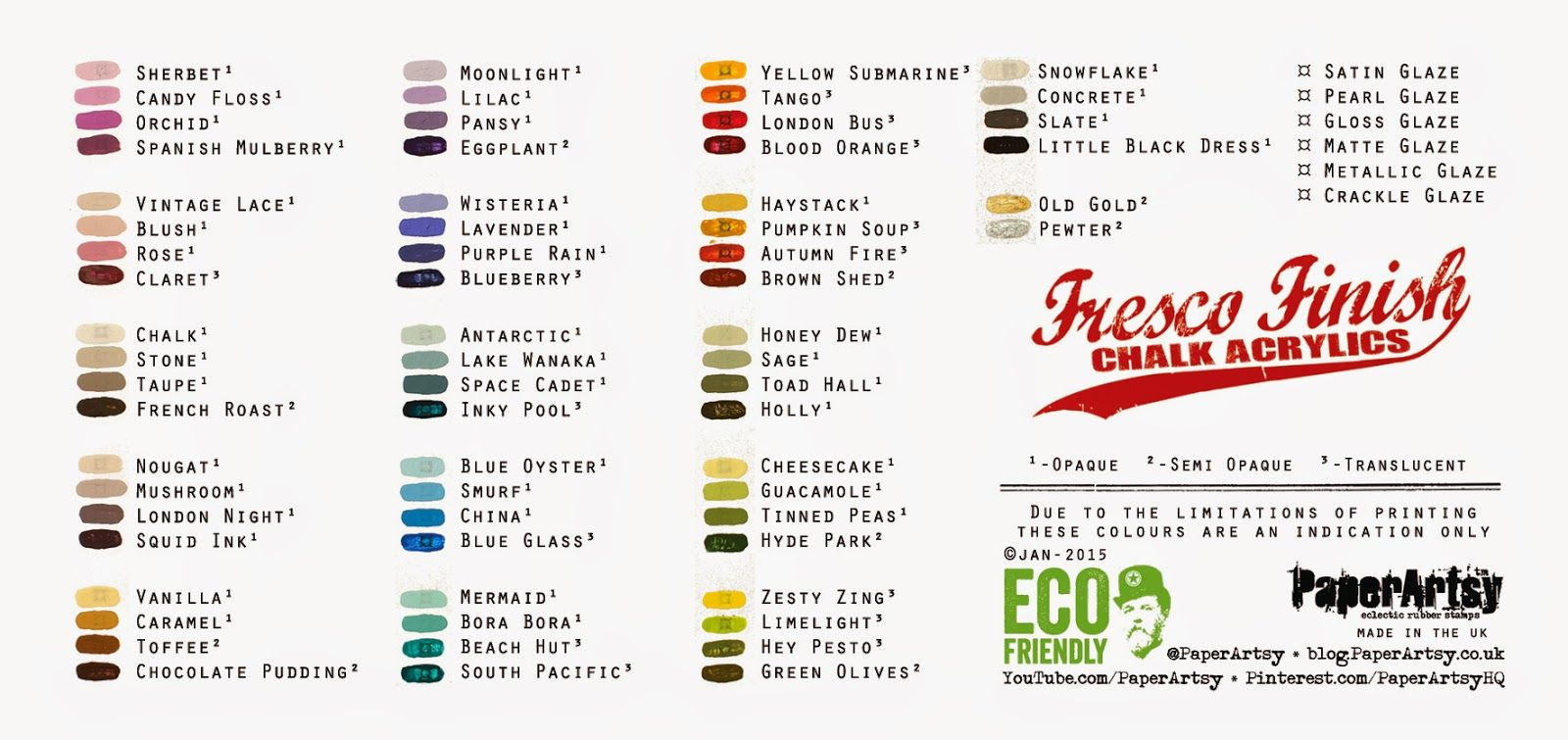New 2015 Paperartsy Products Paint Paint Samples Paper Artsy Paint Charts
