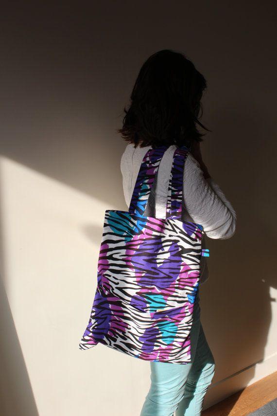 Sac coton zebré violet turquoise noir et blanc par Kaynassen #totebag #shoppingbag #canvasbag