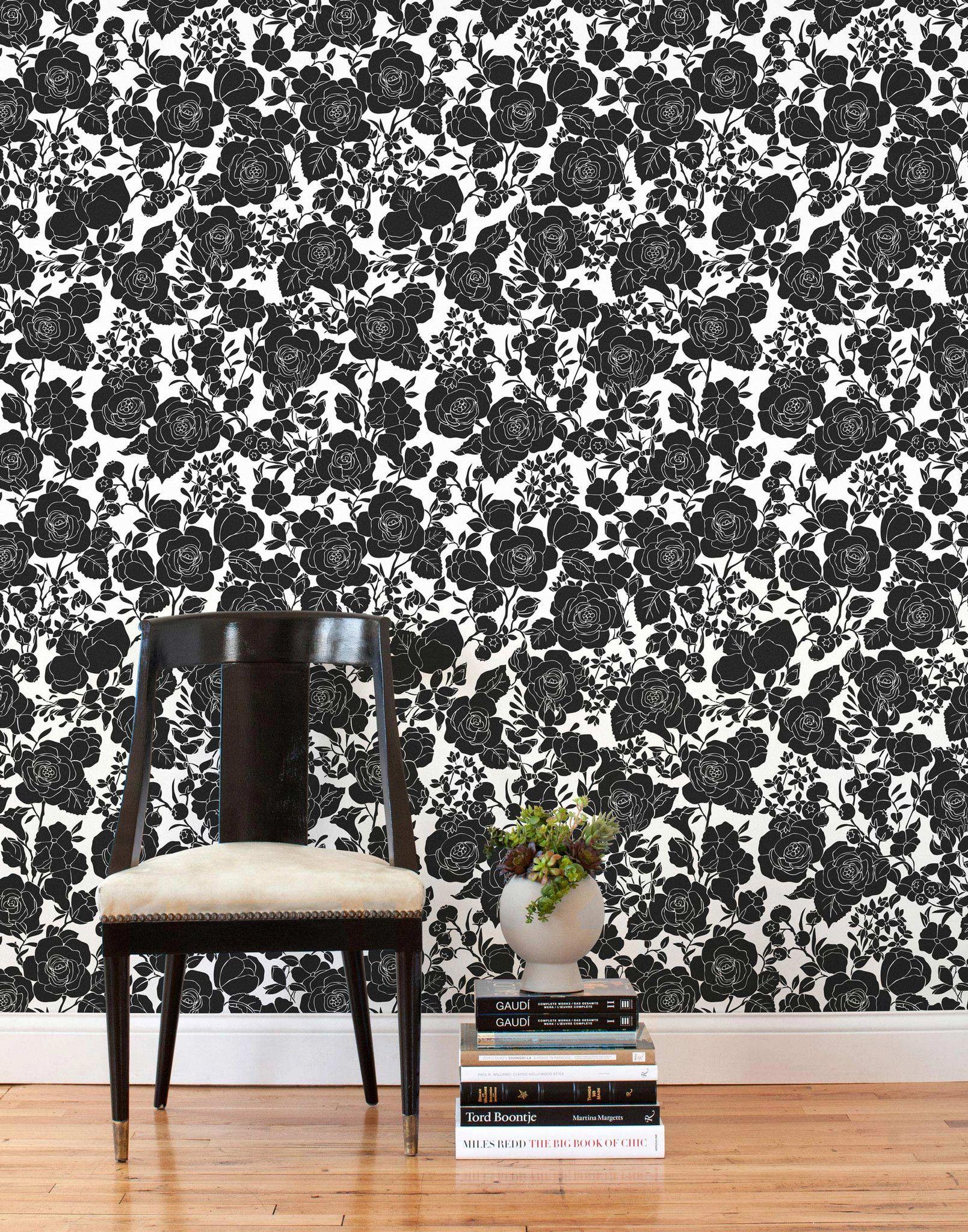 Removable Wallpaper Tiles seconds - garden (black/white) tiles | white tiles, girls