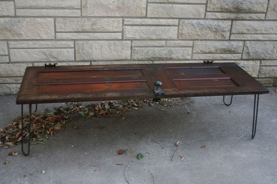 Old Door Coffee Table With Rebar Hairpin Legs