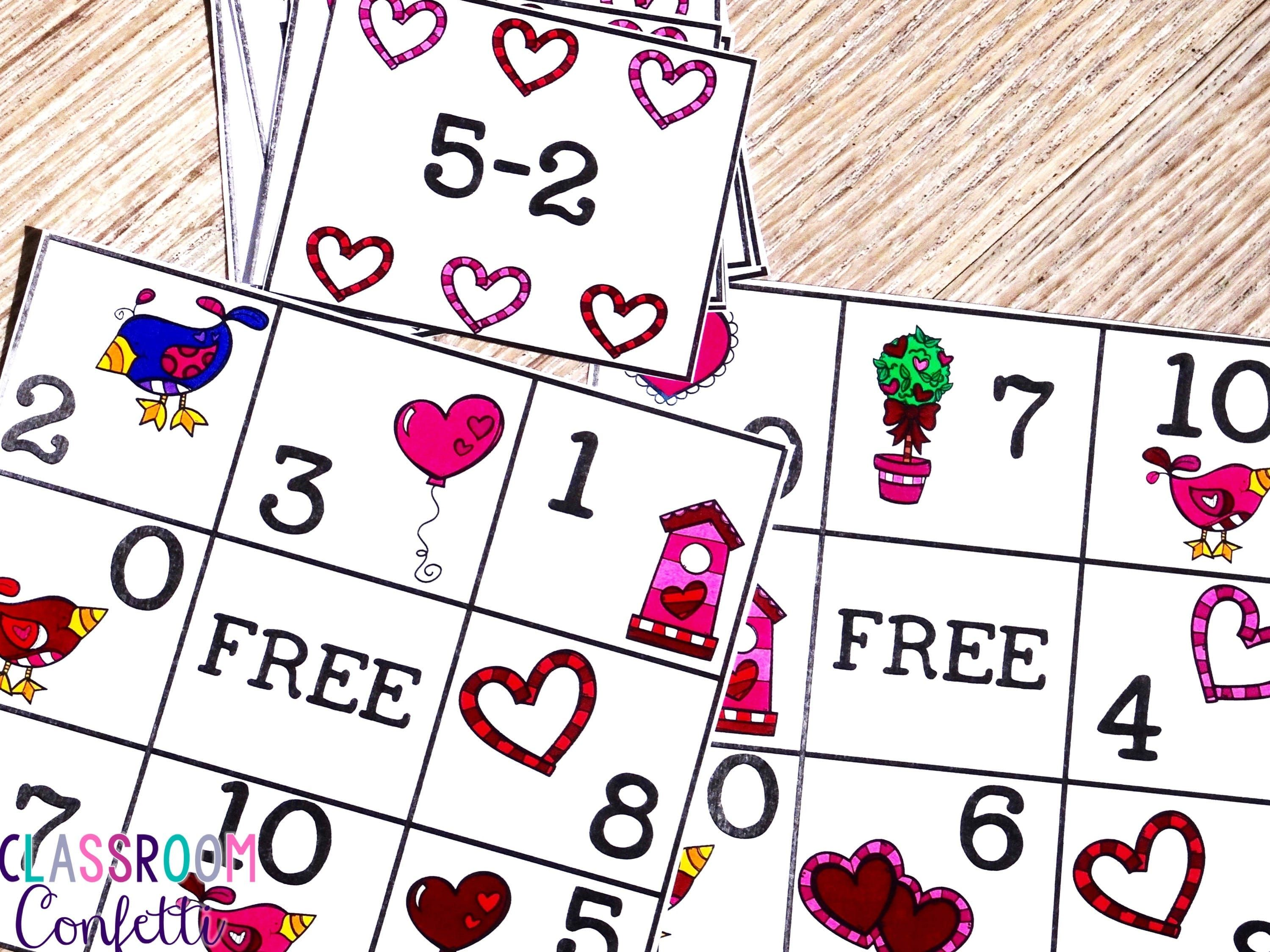 Valentine S Day Addition And Subtraction Bingo Differentiate By Using All Addition All