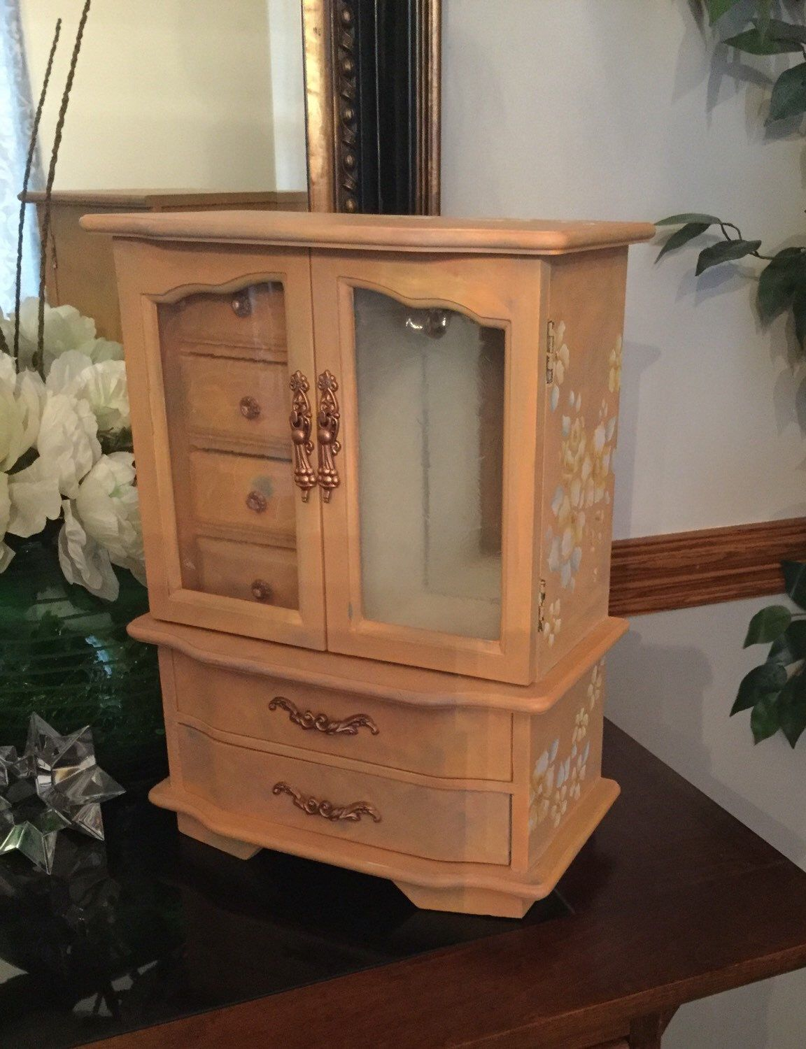 Upcycled Jewelry Armoire Upcycled Shabby Chic Jewelry Box with