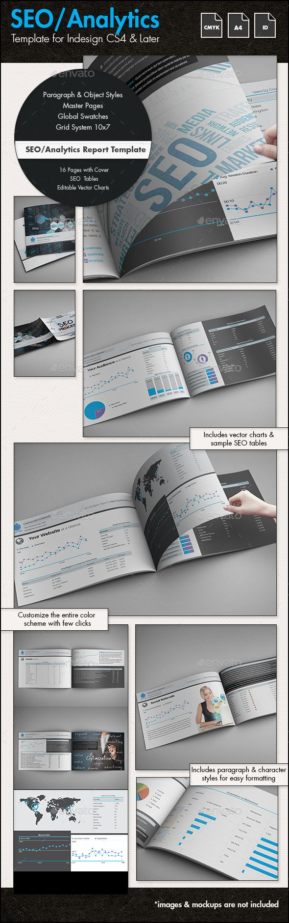 SEO / Analytics Report Template – A4 Landscape   Design Haven ...