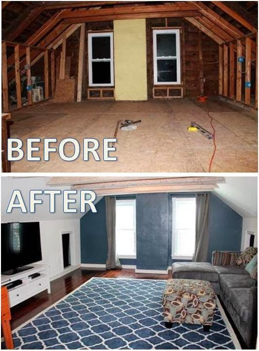 A New Old House Media Room Before After Attic Renovation Attic Remodel Attic Rooms