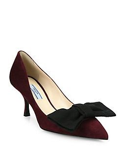 for cheap price buy cheap big sale Prada Bow-Accented Velvet Pumps enjoy for sale b7Qf5EJO