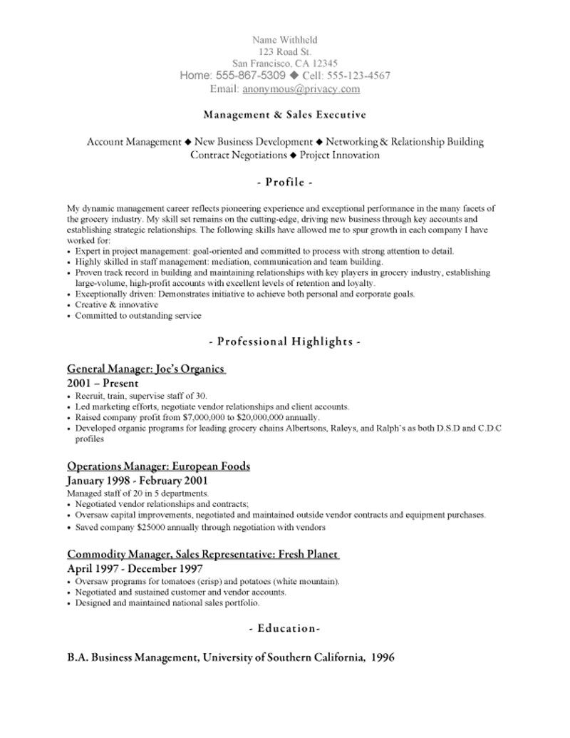 Marketing Representative Resume Objective Sample Food Sales Blank