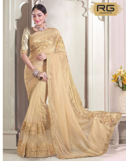 bb6d48b85db6a2 Cream Colour Saree With Heavy Embroidery Work And Heavy Golden Border Work