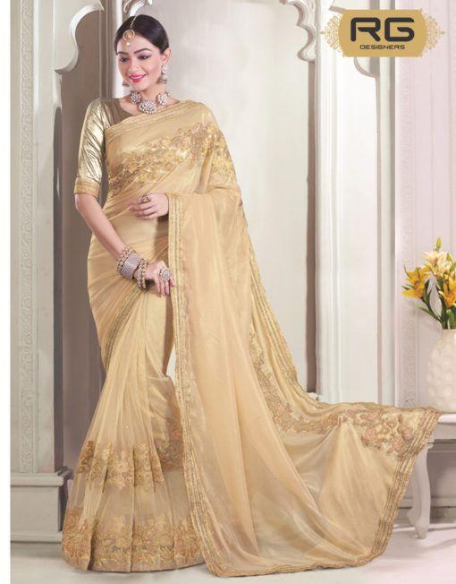 f252ff0856 Cream Colour Saree With Heavy Embroidery Work And Heavy Golden Border Work  || Cream Colour Saree With Heavy Embroidery Work On Pallu And Heavy Golden  Border ...