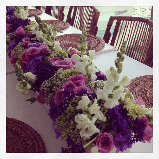Purple and white long flower arrangement ideal for long tables purple and white long flower arrangement ideal for long tables weddings flowers mightylinksfo Images