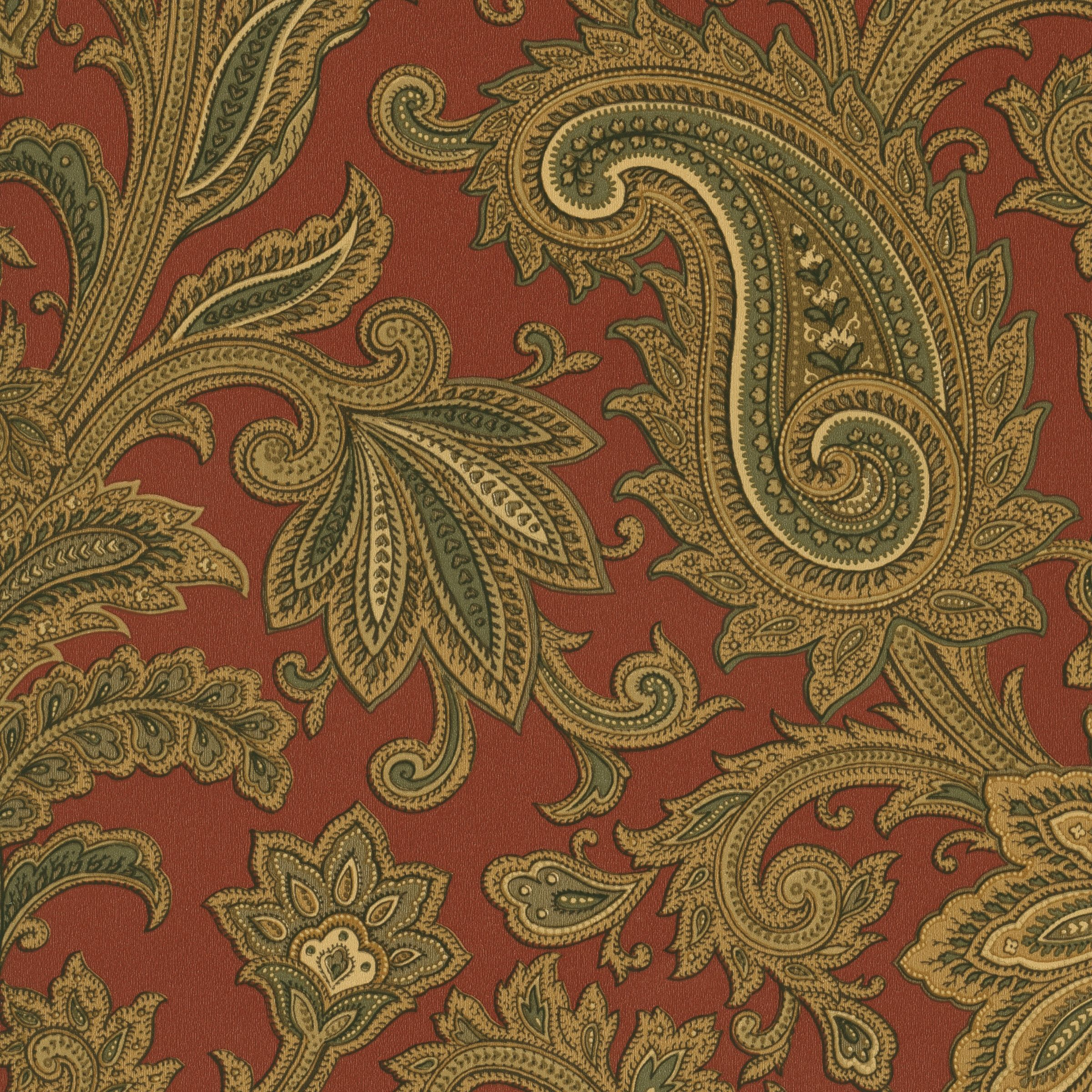 Rusty red, khaki, olive green & cream paisley wallpaper