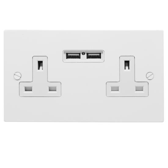 New 4 X Twin Double Switched Socket White 13amp Plug 2 Gang