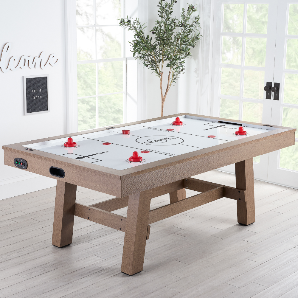 Airzone Premium Air Hockey Table With High End Blower 84 Wood Finish Walmart Com Game Room Basement Air Hockey Game Room