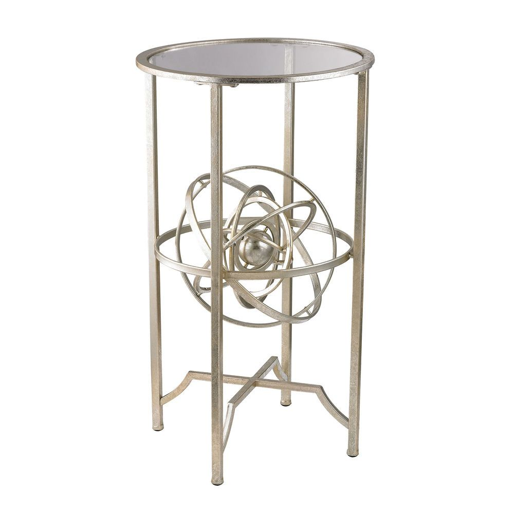 Aged Silver Accent Table With Antique Armillary Sphere Accent