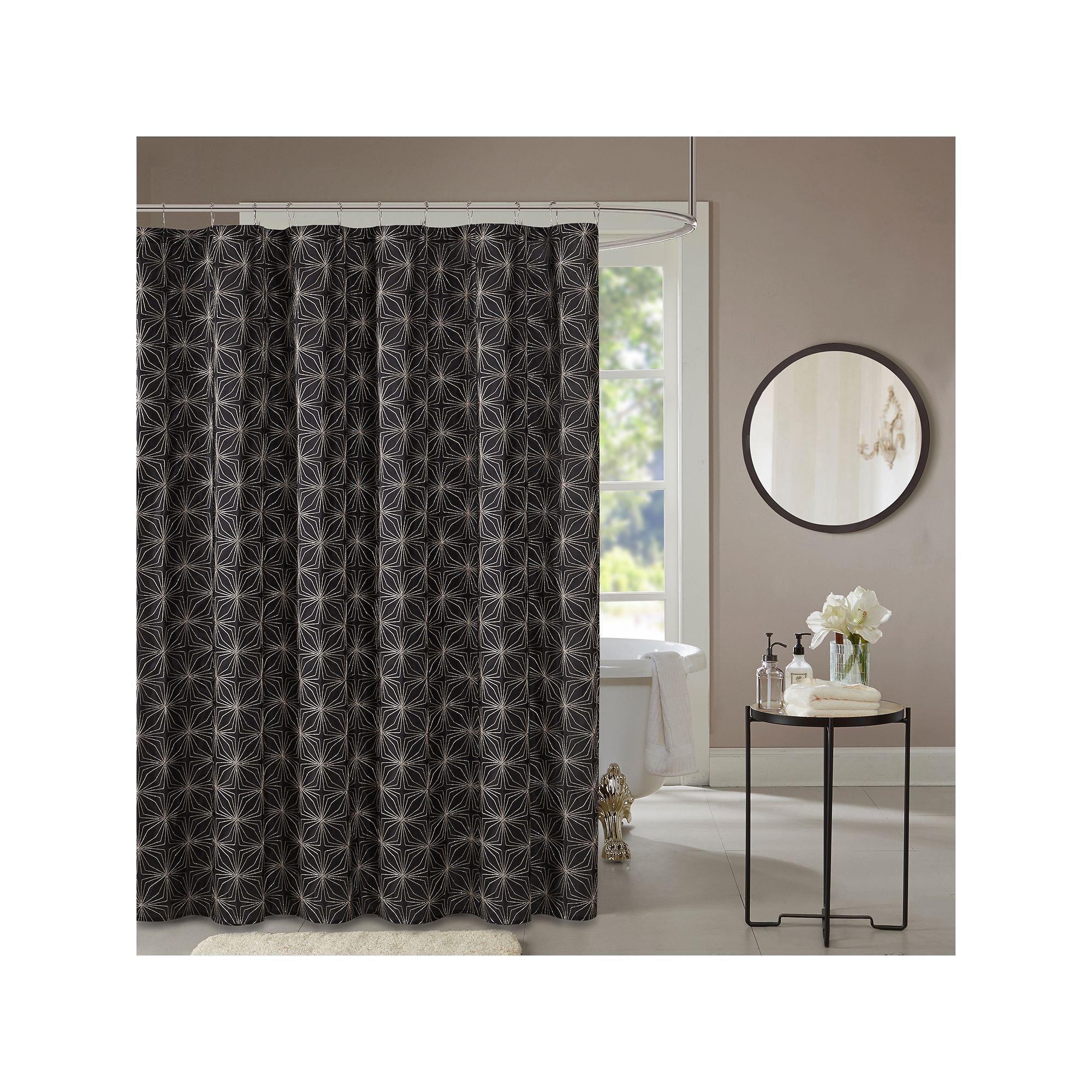 Madison Park Jordan Embroidered Shower Curtain Black Curtains