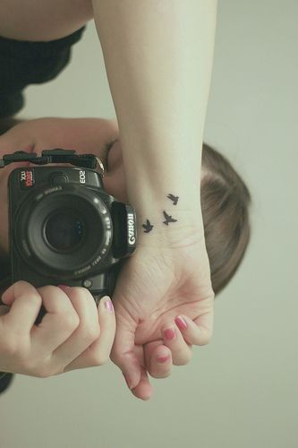 Three little birds tattoo on wrist for girls - mini tattoos