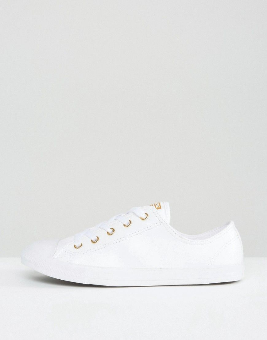 a1577fcdaf79 Converse Chuck Taylor Dainty Trainers In White With Gold Eyelets - Multi.  Trainers by Converse