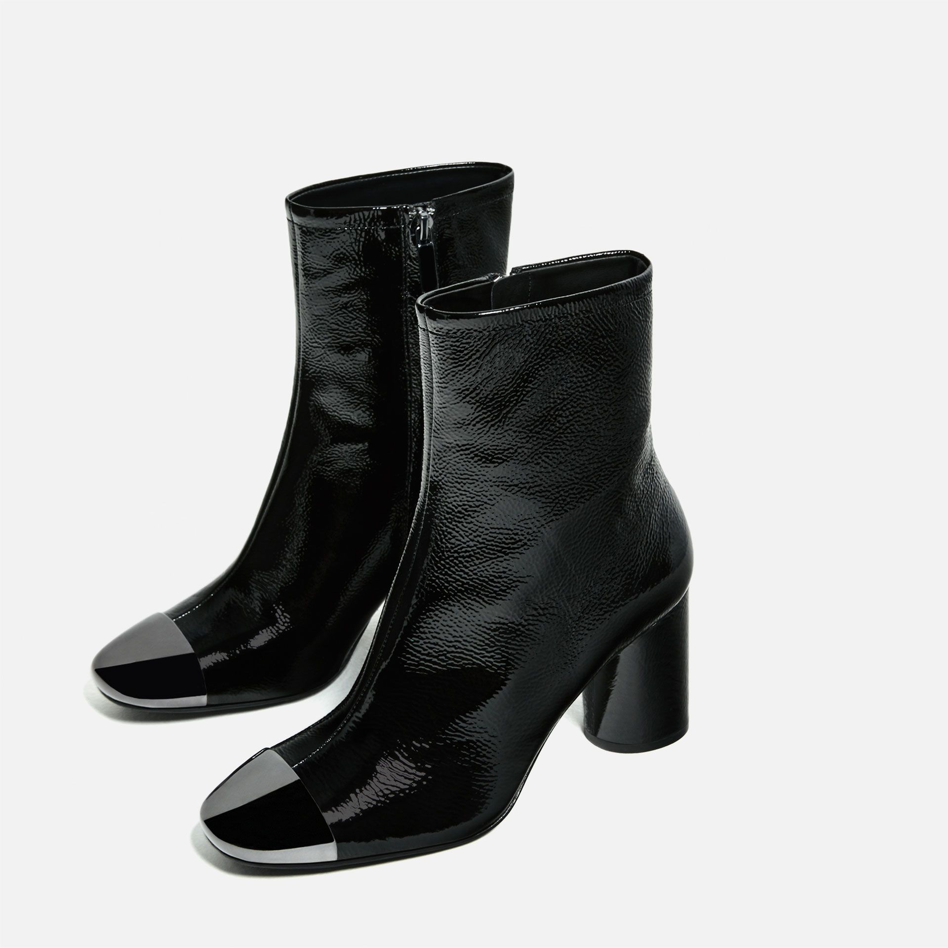 HIGH WITH HEEL LEATHER ANKLE botas WITH HIGH METALLIC TOE ZAPATOS 0962ae