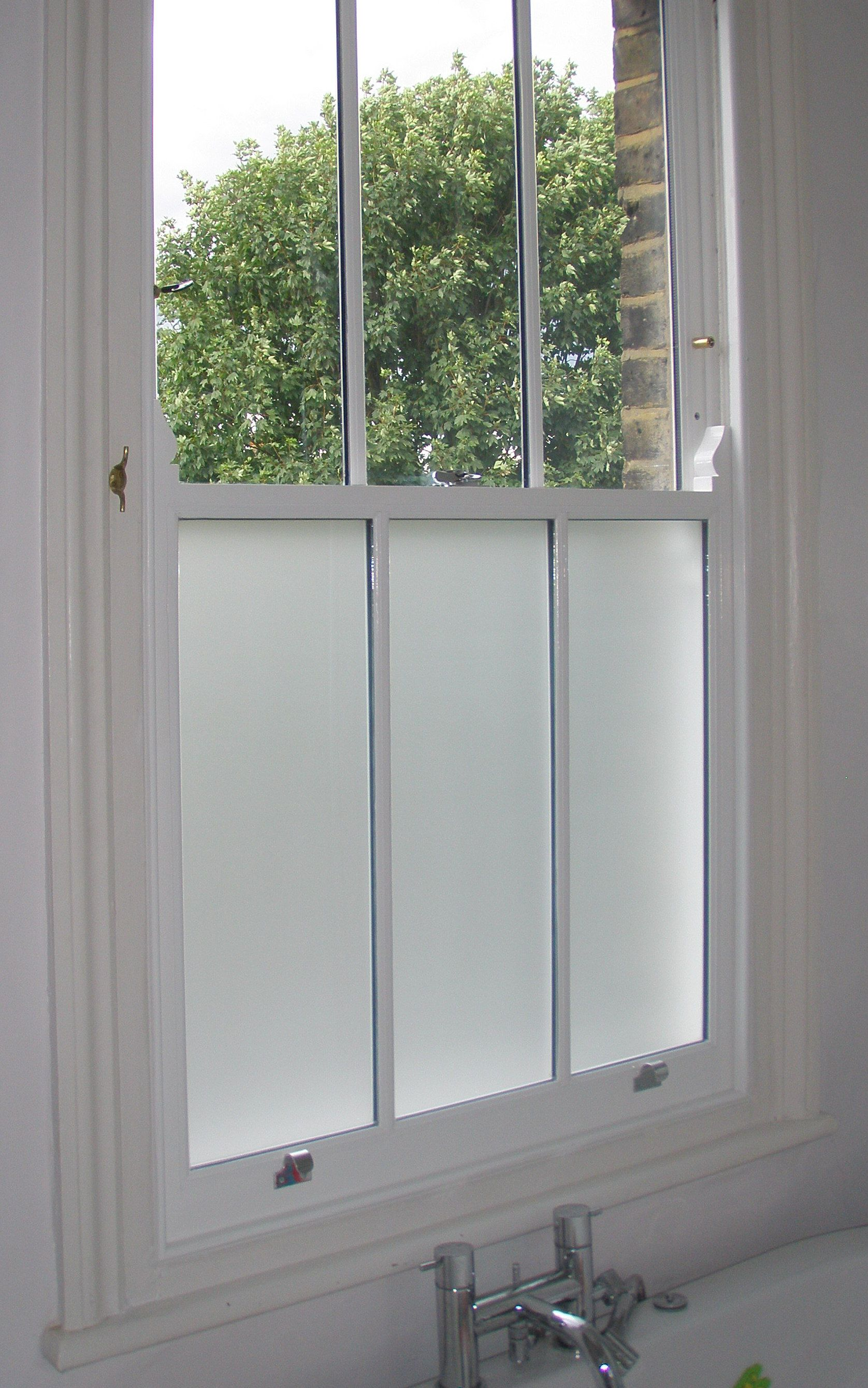 This Double Glazed Sash Window In A Bathroom Has The Added Benefit Of Sandblasted Privacy Glass In The Lowe Bathroom Windows Window Privacy Blue Bathroom Decor
