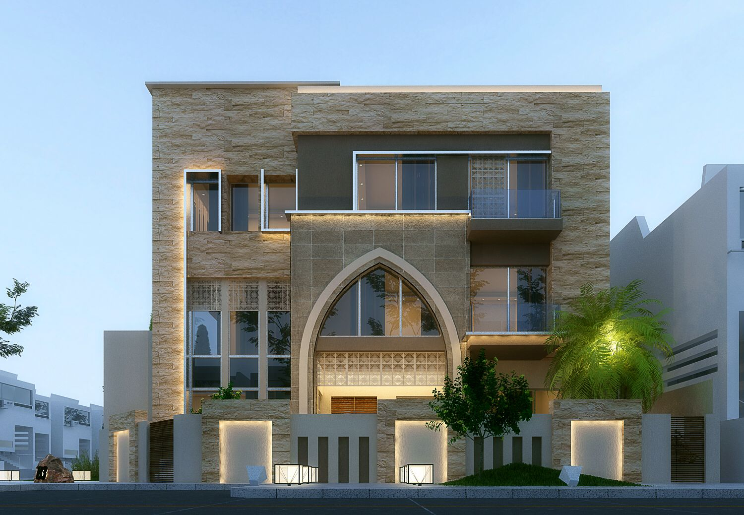 Front Elevation Villas : Modern villa in kuwait using ds max vray and