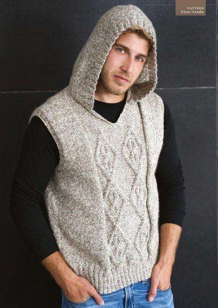 мужской жилет с капюшоном спицами фото 1 вязание жилет мужской