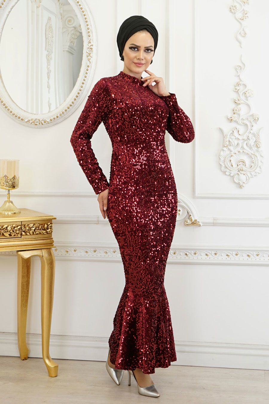 Tesetturlu Abiye Elbise Balik Model Bordo Tesettur Abiye Elbise 8742br Tesetturisland Com 2020 Elbise Resmi Elbise Elbiseler