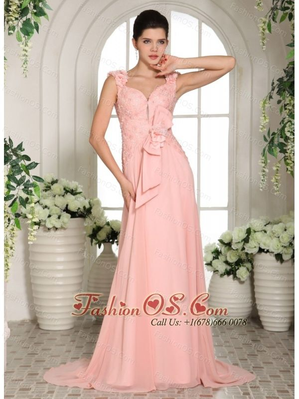 Baby Pink Straps Hand Made Flowers Stylish Prom Gowns With Brush ...