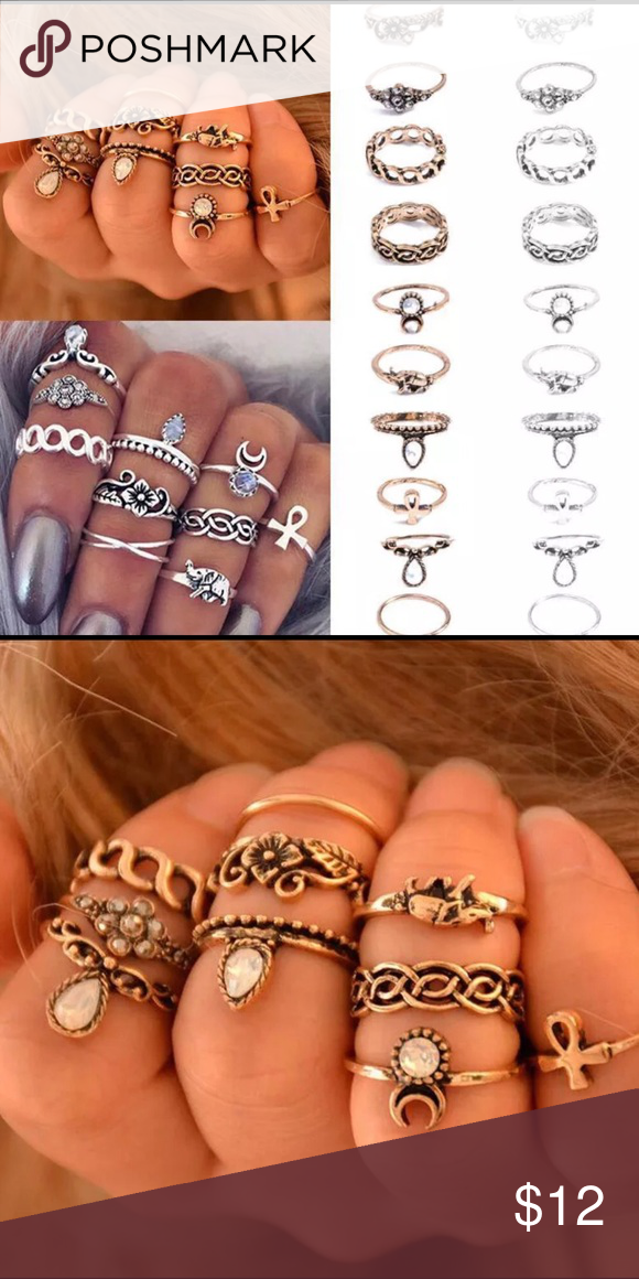 New 10 Piece Gold Stack Rings Silver is sold out. Gold still available. Super fashionable stack rings Jewelry Rings