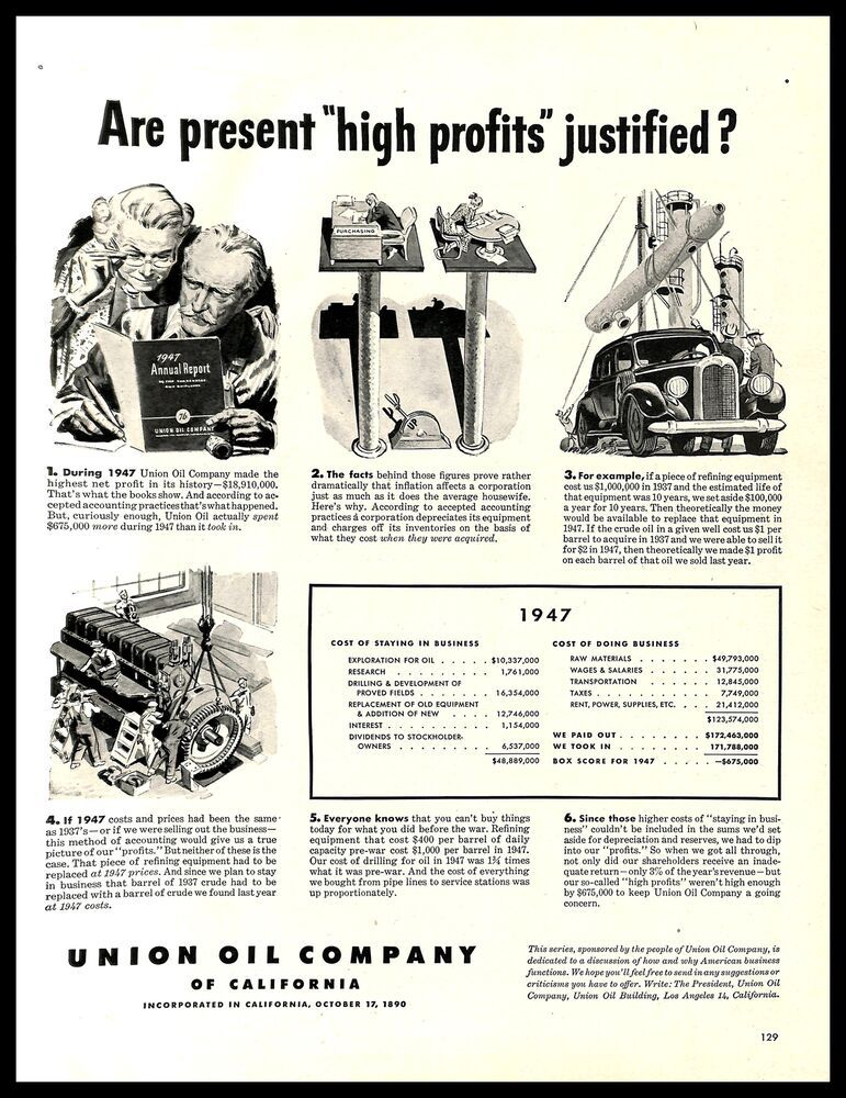 Details About 1948 Union Oil Company Of California Vintage Print