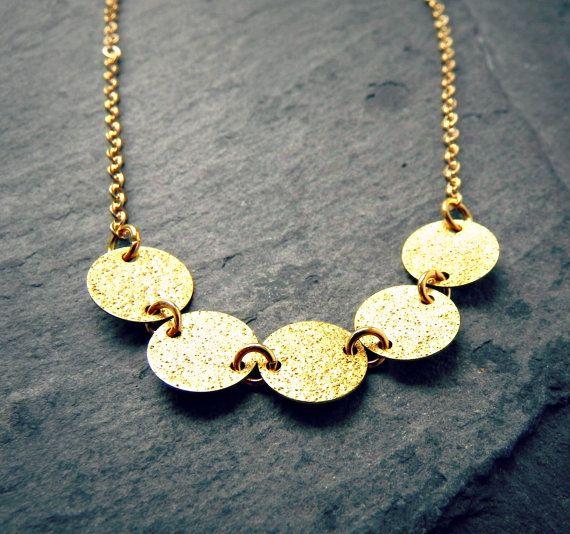 Gypsy Gold Disc Necklace by NostalgikJewelry on Etsy  For light fuchsia dress