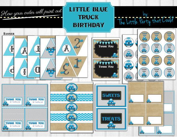 Little Blue Truck Birthday Decorations by LittlePartythatCould