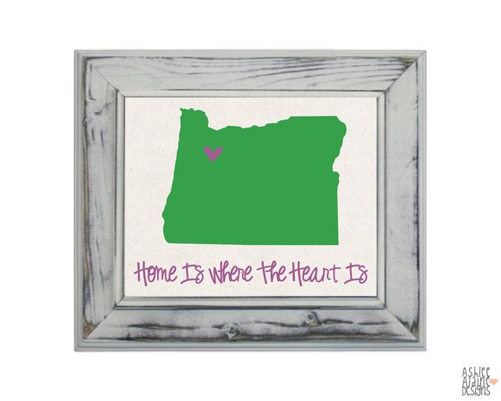 Oregon State Art Print - 8x10 Illustration Home Decor Print - Home is Where The Heart is. $19.00, via Etsy.