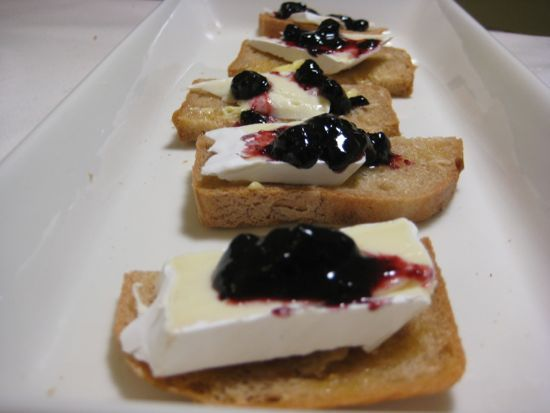 Toasted gluten-free bread, butter, brie, blueberry jam. That's all.