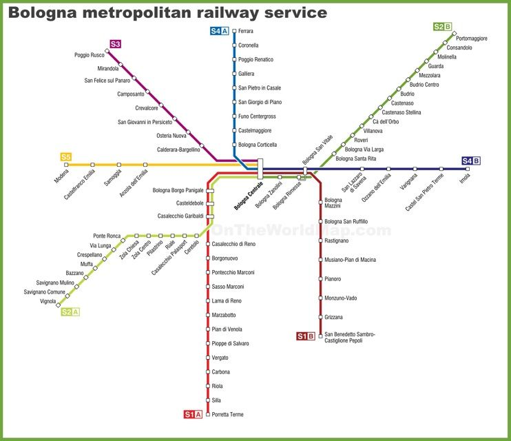 Bologna metropolitan railway service map (With images ...