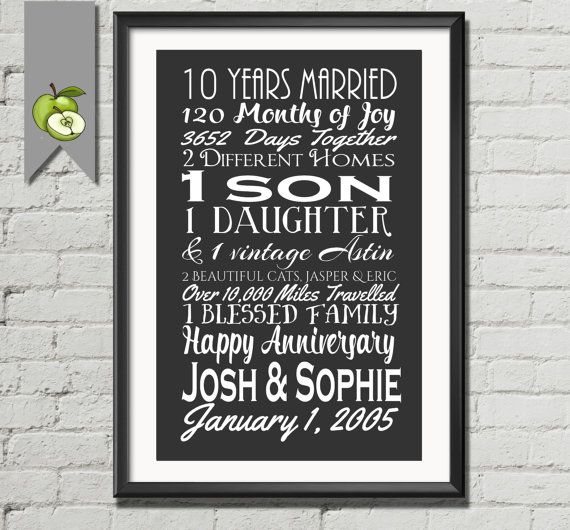 Silver Wedding Gifts For Husband: Big 10 Year Anniversary Gift, Wife, Husband, Subway I Love