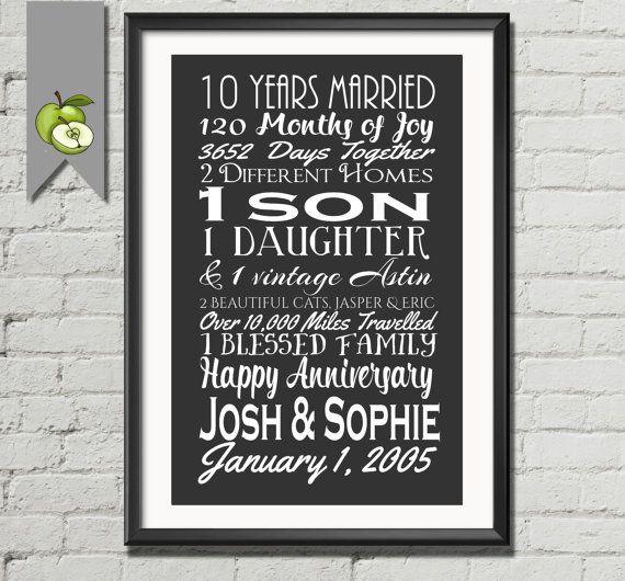 Big 10 year anniversary gift, wife, husband, Subway I love you ...