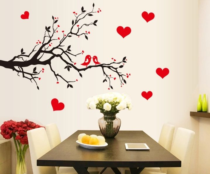 Black Red Birds Love Wall Stickers Decals Tree Branch Vinyl Wallpaper Mural  Girls Women Couple Home