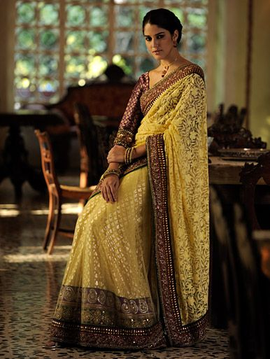 A netted saree with Lucknow work accompanied by an in skirt with a rich antique border and a contrasting unstitched brocade blouse.
