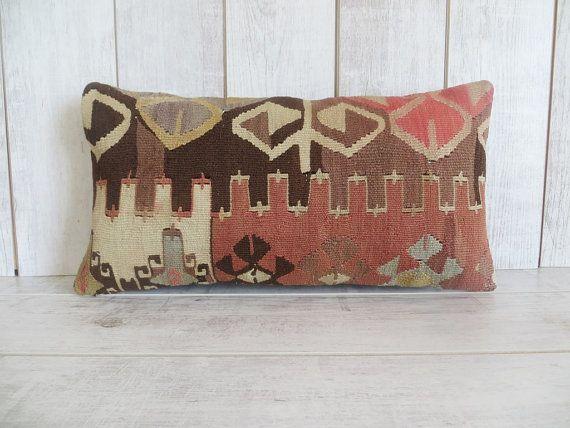 Kilim pillow wool pillow vintage turkish kilim by thenorthernstyle
