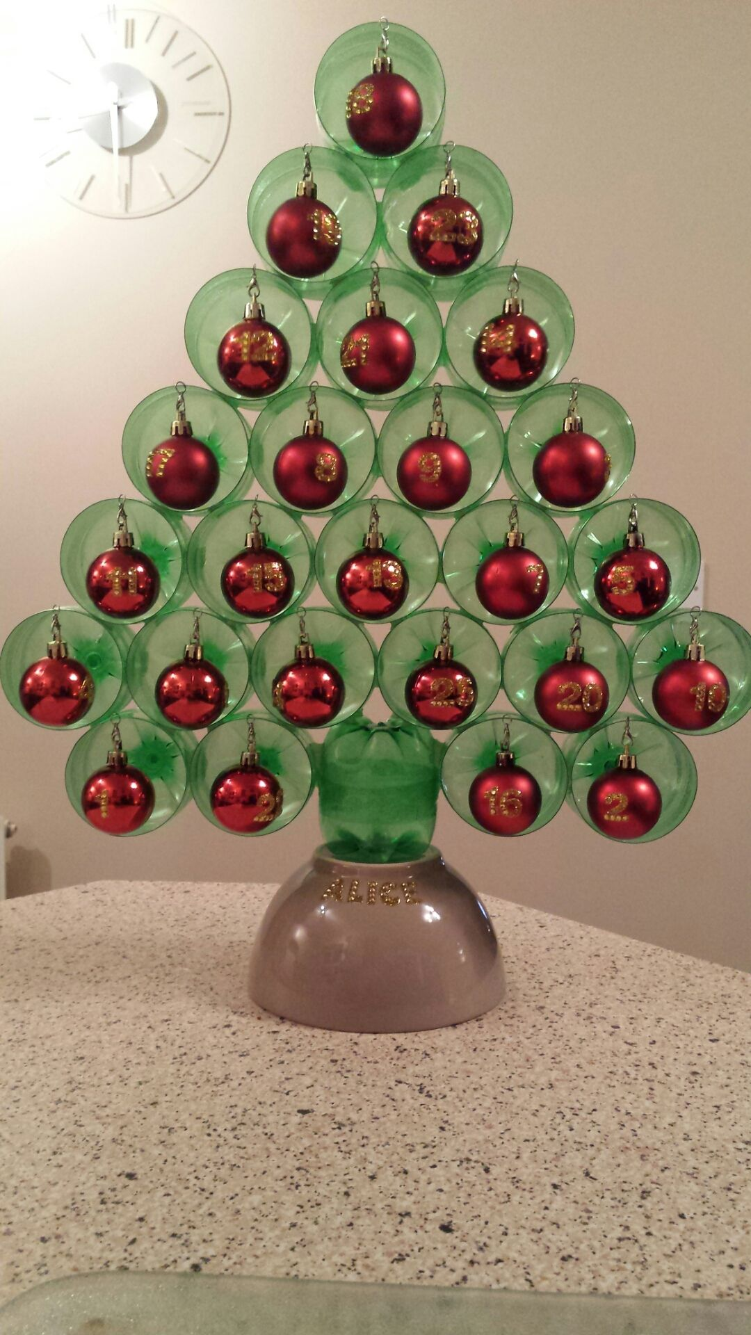 Christmas Tree Advent Calendar Made From Bottles.