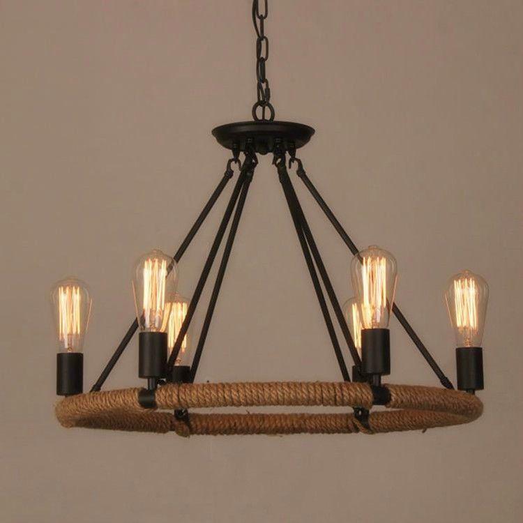 Details About Industrial Farmhouse Iron Chandelier Light Edison