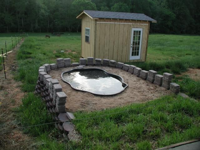 Duck pond on hill with drain attach hose and fertilize for Duck pond water