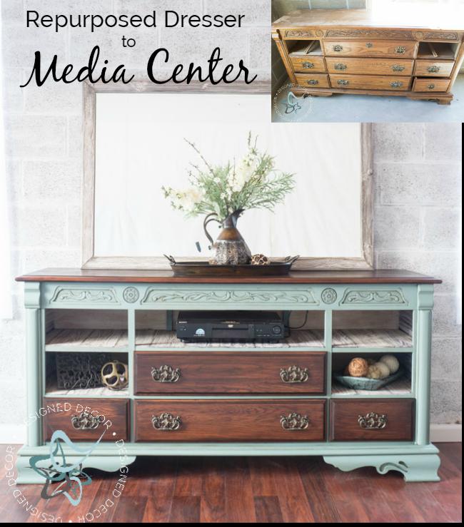 Repurposed Dresser To Media Center Repurposed Dresser Repurposed Furniture Home Decor