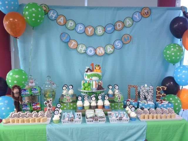 Baby Safari Birthday Party Ideas Jungle party Dessert table and
