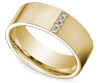 Pave Men S Wedding Ring In Yellow Gold 8mm