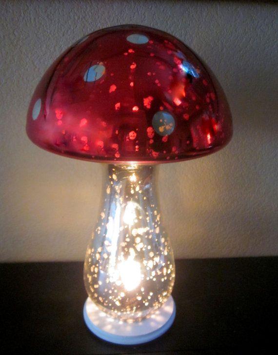 Mercury glass mushroom accent lamp night light home decor