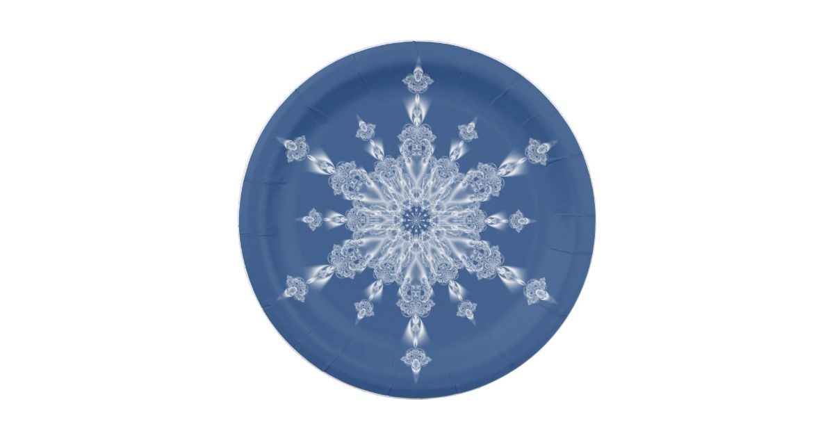 Ice crystal snowflake on blue paper plate | Blue Christmas Paper ...