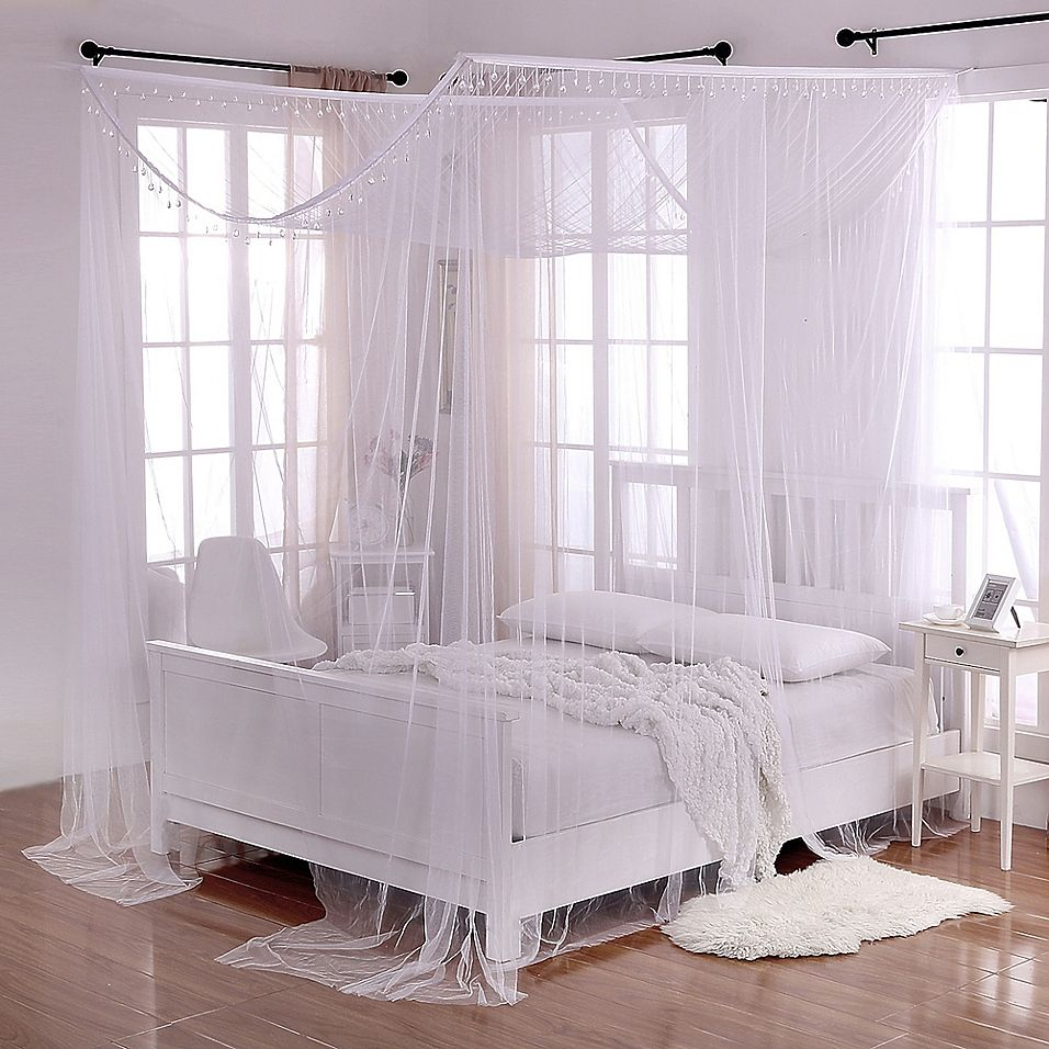 Crystal Sheer 4 Poster Bed Canopy In White In 2019 4 Poster Bed