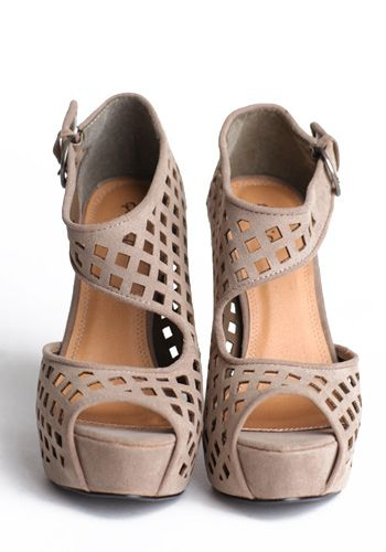 Nude, wedges with cutouts are three popular trends that are combined together in these heels. The classic color with the cut outs adds a twist to the popular wedge  heel. This is important to forecaster's to watch trend's because they are ever-changing and can be very influential. - Brooke M